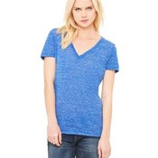 Ladies' Jersey Short-Sleeve Deep V-Neck T-Shirt