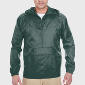 Adult Quarter-Zip Hooded Pullover Pack-Away Jacket